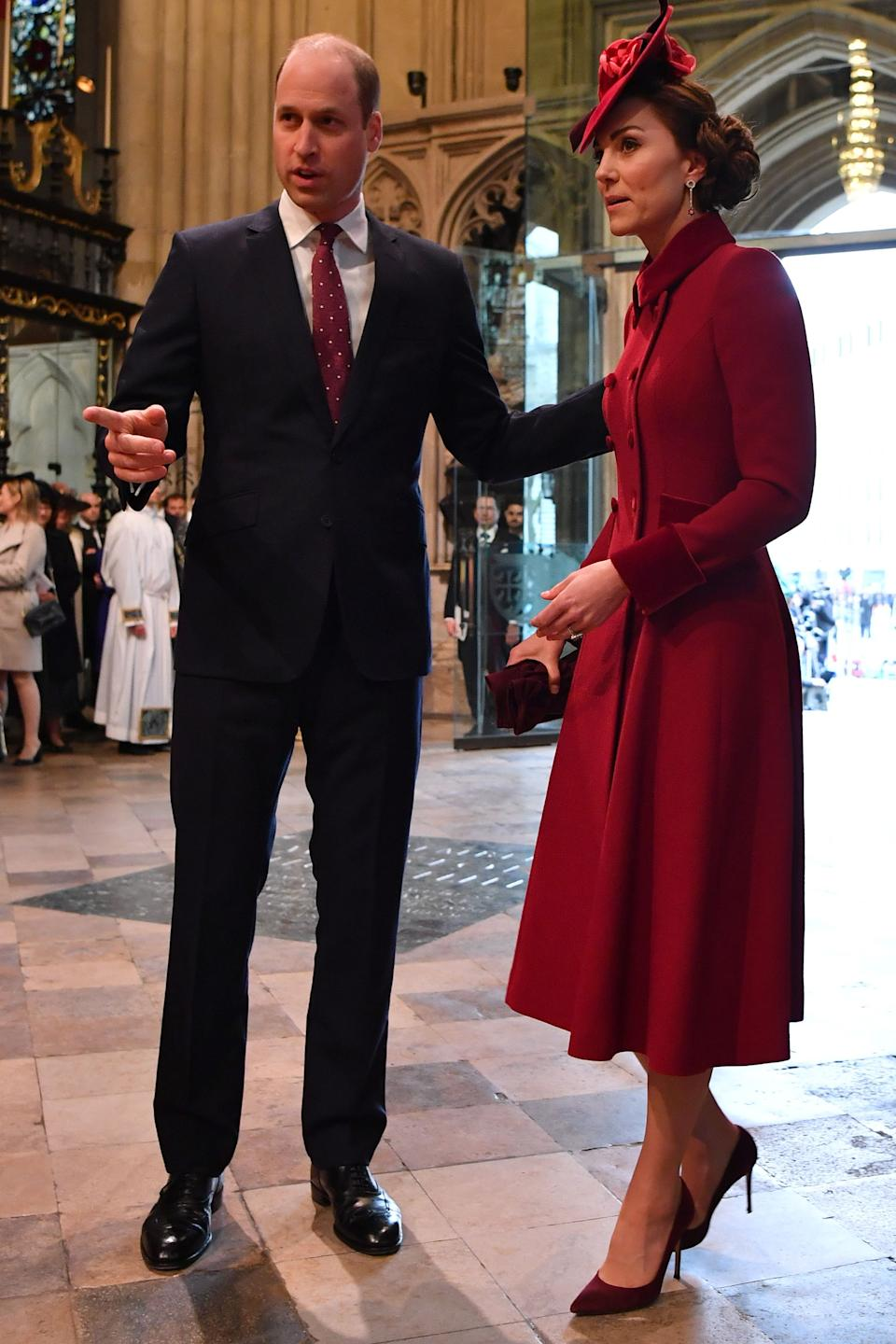 Britain's Prince William (L), Duke of Cambridge and Britain's Catherine, Duchess of Cambridge attend the annual Commonwealth Service at Westminster Abbey in London on March 09, 2020. - Britain's Queen Elizabeth II has been the Head of the Commonwealth throughout her reign. Organised by the Royal Commonwealth Society, the Service is the largest annual inter-faith gathering in the United Kingdom. (Photo by Ben STANSALL / POOL / AFP) (Photo by BEN STANSALL/POOL/AFP via Getty Images)