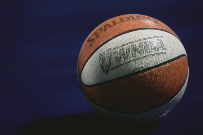 The official Spalding basketball used for the WNBA Western Conference basketball game between the Los Angeles Sparks and the Charlotte Sting on 21st July 1997 at the Charlotte Coliseum, Charlotte, North Carolina, United States.  (Photo by Craig Jones/Allsport/Getty Images)