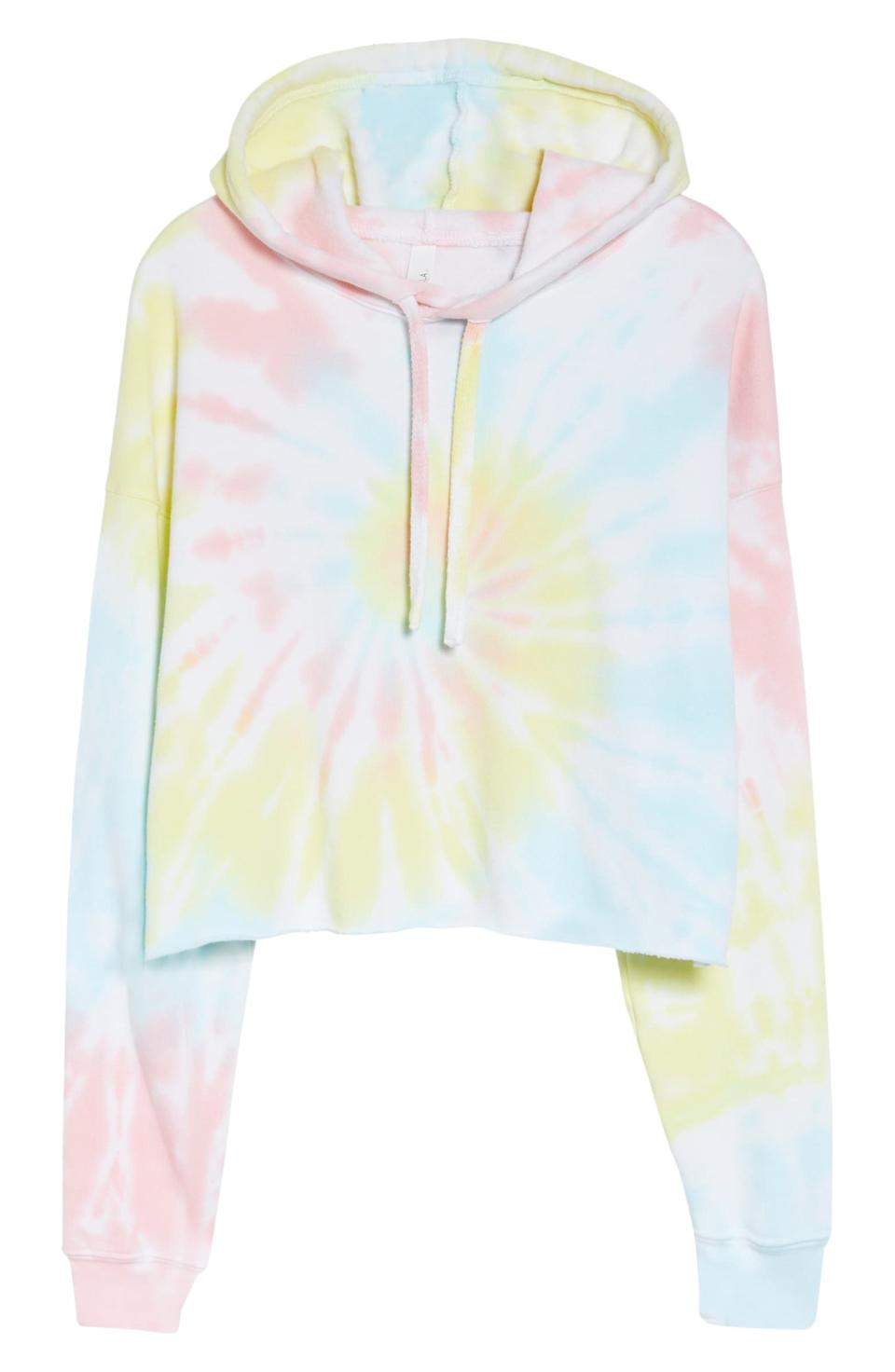 Bella + Canvas Crop Tie Dye Hoodie. Image via Nordstrom.