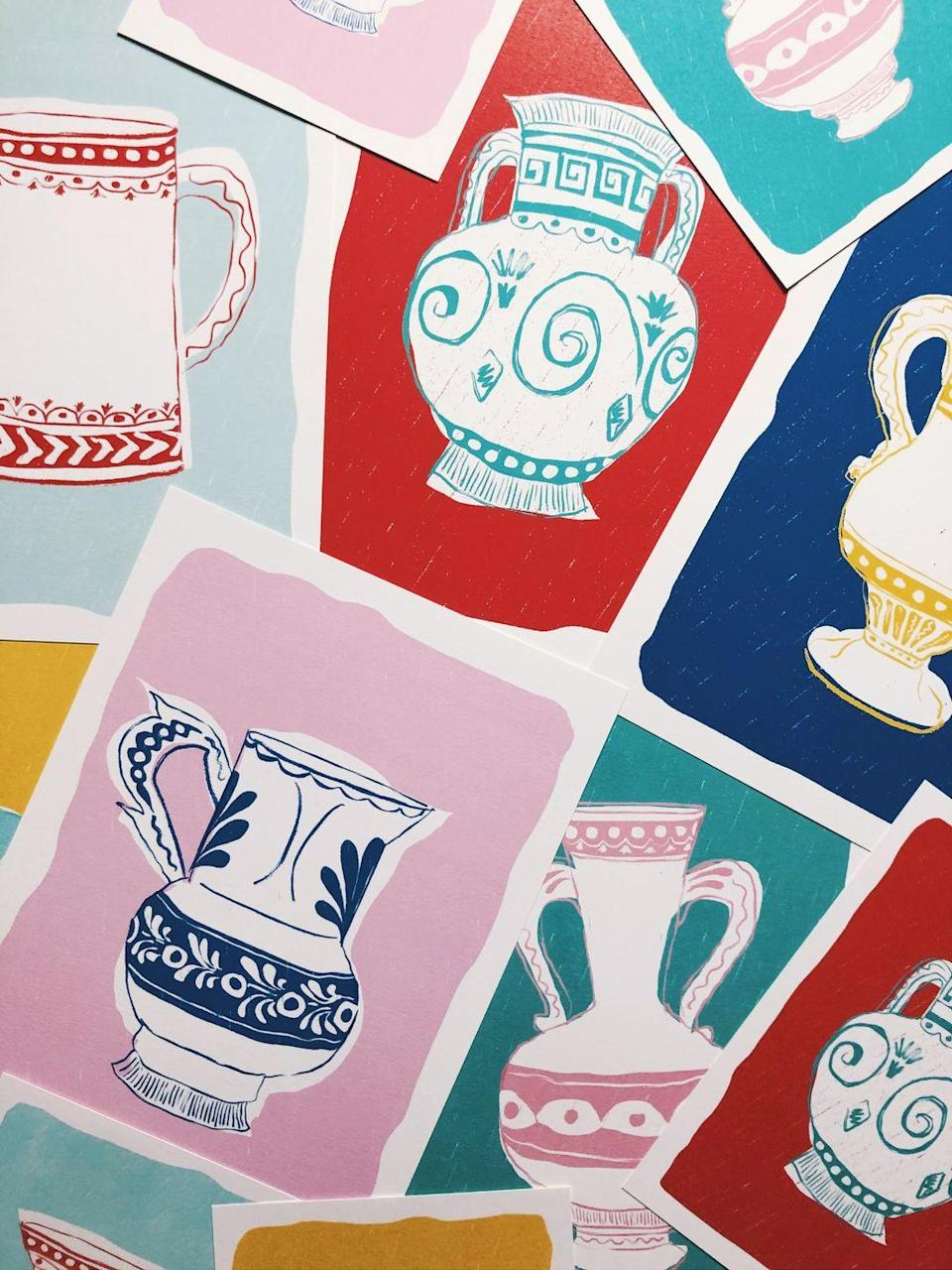 """<p>British illustrator Sasha Compton's drawings of pots with wiggly lines and smudged block colours are full of personality. Hang a row of her artworks in equally colourful frames or introduce a single piece to an existing gallery wall. £65 for a A4 print, <a href=""""https://www.sashacompton.com/product-page/joyful-jug-ii"""" rel=""""nofollow noopener"""" target=""""_blank"""" data-ylk=""""slk:sashacompton.com"""" class=""""link rapid-noclick-resp"""">sashacompton.com</a></p><p><br></p><p><strong>This article first appeared</strong> <strong>in </strong><a href=""""https://magsdirect.co.uk/magazine-category/lifestyle/elle-decoration/"""" rel=""""nofollow noopener"""" target=""""_blank"""" data-ylk=""""slk:ELLE Decoration March 2021"""" class=""""link rapid-noclick-resp"""">ELLE Decoration March 2021</a></p><p><strong>Like this article? </strong><u><a href=""""https://hearst.emsecure.net/optiext/optiextension.dll?ID=LKHLy4U%2BAPDM5JcrmOKxtYntAlN0FMNelBSKJmXANeFj7b3wVEXa8UQNxN3Kk5RyF_0Q89Kyk6%2BjLh"""" rel=""""nofollow noopener"""" target=""""_blank"""" data-ylk=""""slk:Sign up to our newsletter"""" class=""""link rapid-noclick-resp"""">Sign up to our newsletter</a></u> to get more articles like this delivered straight to your inbox.</p><p><a class=""""link rapid-noclick-resp"""" href=""""https://hearst.emsecure.net/optiext/optiextension.dll?ID=LKHLy4U%2BAPDM5JcrmOKxtYntAlN0FMNelBSKJmXANeFj7b3wVEXa8UQNxN3Kk5RyF_0Q89Kyk6%2BjLh"""" rel=""""nofollow noopener"""" target=""""_blank"""" data-ylk=""""slk:SIGN UP""""><strong><strong><strong>SIGN UP</strong></strong></strong></a></p><p><strong>Keep your spirits up </strong>and <a href=""""https://www.hearstmagazines.co.uk/elle-decoration-magazine-subscription-website?utm_source=elledecoration.co.uk&utm_medium=referral&utm_content=stayathome"""" rel=""""nofollow noopener"""" target=""""_blank"""" data-ylk=""""slk:subscribe to ELLE Decoration here"""" class=""""link rapid-noclick-resp"""">subscribe to ELLE Decoration here</a>, so our magazine is delivered direct to your door.<br></p>"""