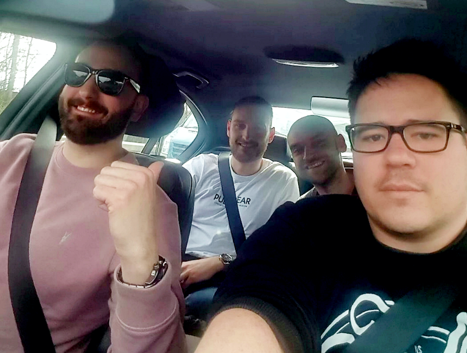 <em>Ben Whincup (right) and his friends heading to his alternative stag-do in Newcastle (SWNS)</em>