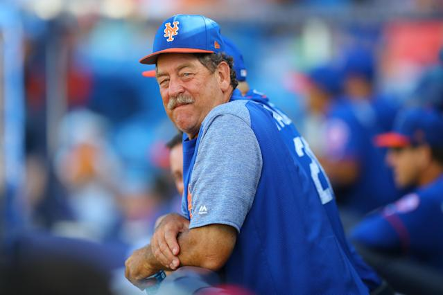 <p>Former Cy Young award winner and New York Mets pitching coach Frank Viola watches action in the eighth inning of a baseball game against the Houston Astros at First Data Field in Port St. Lucie, Fla., Feb. 27, 2018. (Photo: Gordon Donovan/Yahoo News) </p>