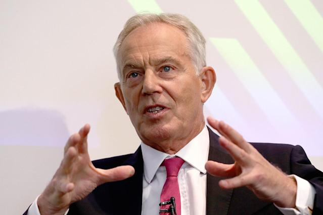 Tony Blair said either a Conservative or Labour majority would pose a risk to the UK (PA)