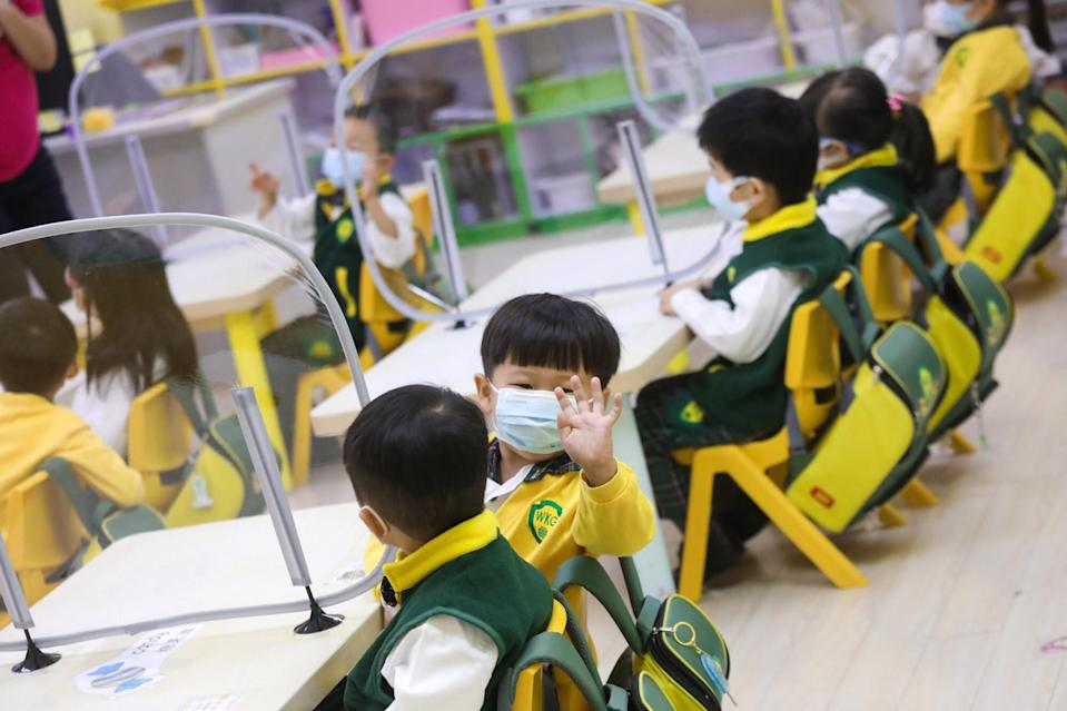 Wellcome International Kindergarten in Tuen Mun resumed face-to-face class last month. Photo: K. Y. Cheng