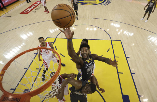 Golden State Warriors forward Jordan Bell (2) shoots against the Houston Rockets during the first half in Game 4 of the NBA basketball Western Conference Finals Tuesday, May 22, 2018, in Oakland, Calif. (AP Photo/Marcio Jose Sanchez, Pool)