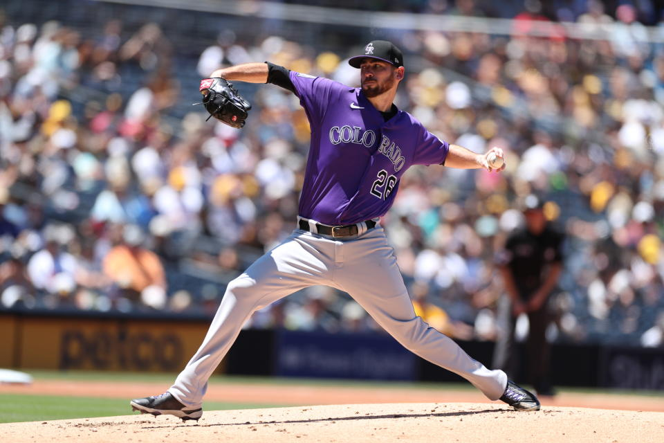 Colorado Rockies starting pitcher Austin Gomber delivers to a San Diego Padres' batter in the first inning of a baseball game Sunday, Aug. 1, 2021, in San Diego. (AP Photo/Derrick Tuskan)
