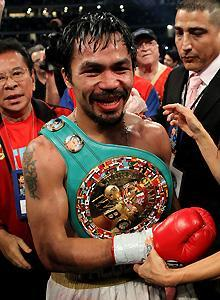 Manny Pacquiao is all smiles after his scintillating performance against Antonio Margarito on Saturday