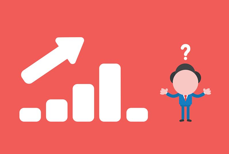 Vector illustration concept of confused businessman character with sales bar chart moving up and down.