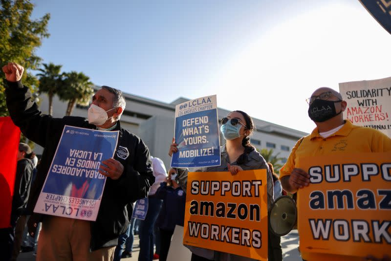 FILE PHOTO: Protest in support of the unionizing efforts of the Alabama Amazon workers, in Los Angeles