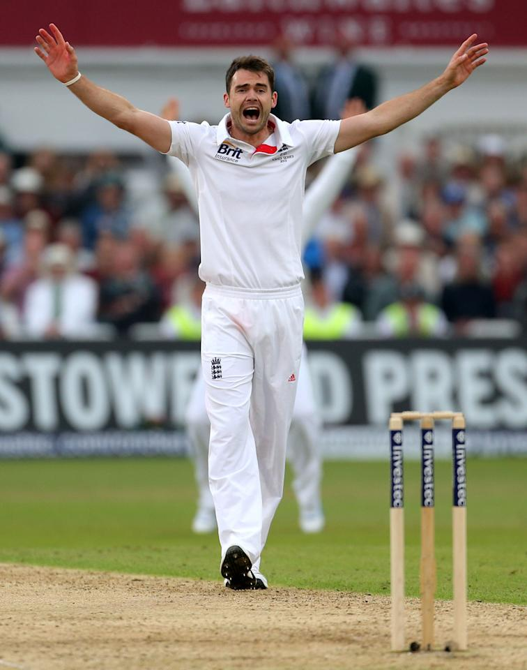 File photo dated 10/07/2013 of England's bowler James Anderson celebrates taking wicket of Australia's Chris Rogers LBW, during day one of the First Investec Ashes Test match at Trent Bridge, Nottingham.