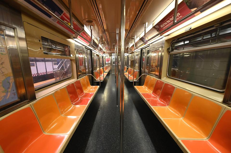 "Yet another empty New York subway car is seen on March 23. According to <em>New York Magazine</em>, ridership is now lower than it was during the opening weekend of the subway system <a href=""https://nymag.com/intelligencer/article/new-york-coronavirus-cases-updates.html"" rel=""nofollow noopener"" target=""_blank"" data-ylk=""slk:back in 1904"" class=""link rapid-noclick-resp"">back in 1904</a>."