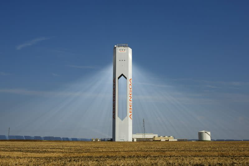 "A tower belonging to the Abengoa solar plant at the ""Solucar"" solar park is seen in Sanlucar la Mayor"