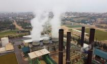 A picture taken with a drone shows steam rising from Gaza's lone power plant, in the central Gaza Strip