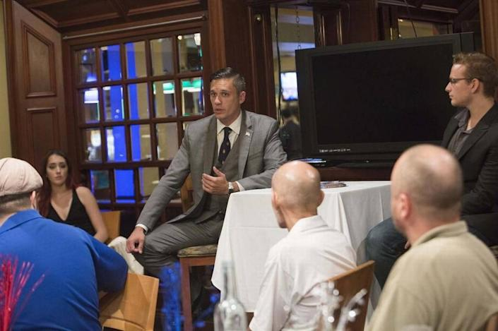 Augustus Invictus, talks during a Libertarian Party meeting that is hosting a town hall ahead of the Aug. 30 primary in Coral Gables, at John Martin's Irish Pub and Restaurant, , Coral Gables, on Tuesday August 23rd, 2016.