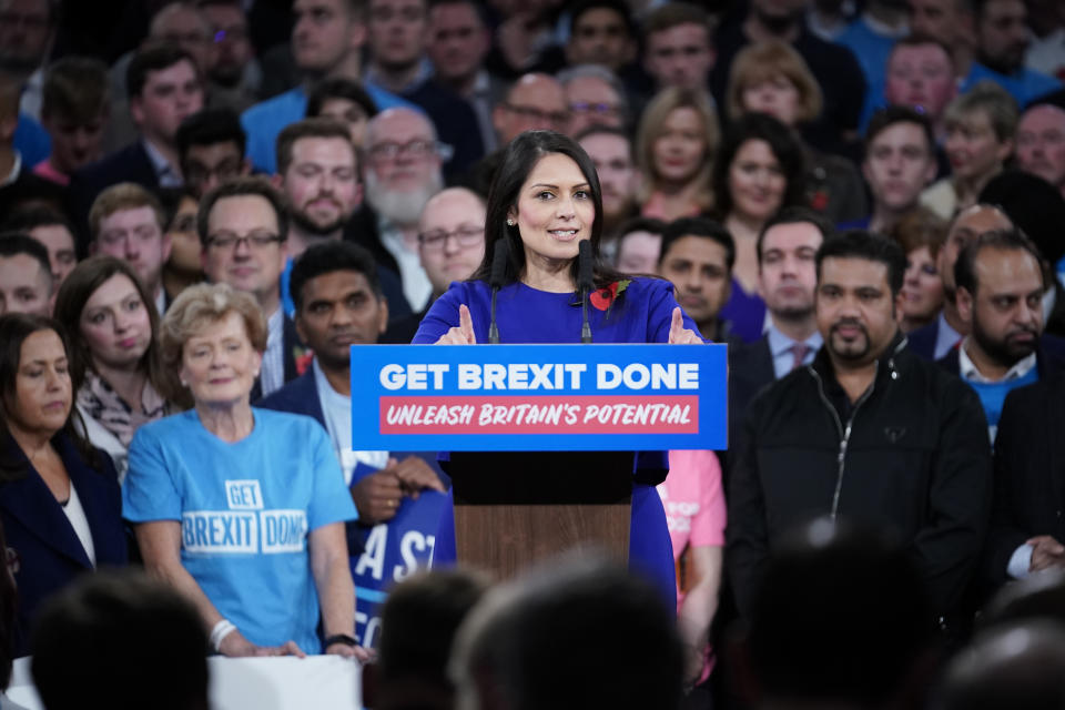 BIRMINGHAM, ENGLAND - NOVEMBER 06: Home Secretary Priti Patel talks onstage at the launch of the Conservative Party's General Election campaign at the National Exhibition Centre on November 6, 2019 in Birmingham, United Kingdom. Boris Johnson visited HM The Queen earlier today to officially dissolve Parliament before heading to the West Midlands to launch the Conservative Party general election campaign. The British people will go to the polls on December 12th for the first winter election in nearly a century. (Photo by Christopher Furlong/Getty Images)