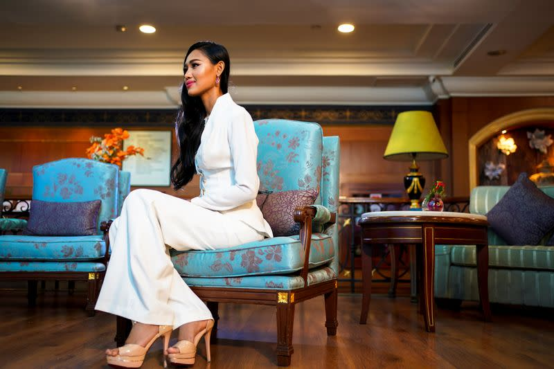 Miss Grand Myanmar, Han Lay gives an interview in Bangkok