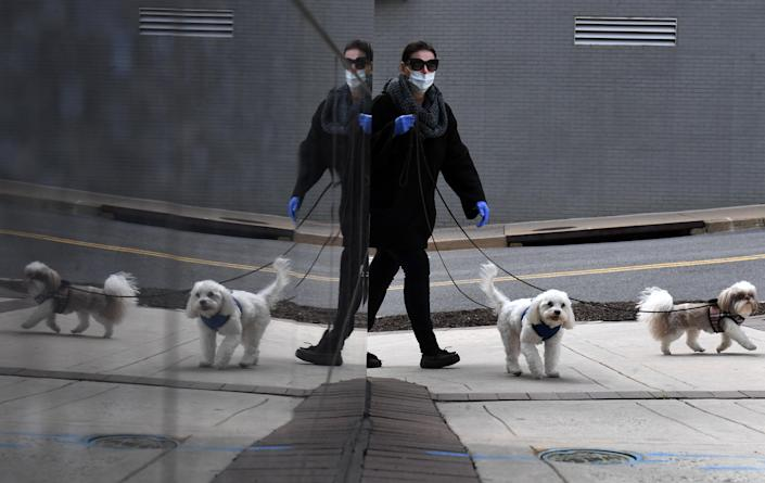 Clad in gloves and a mask, a woman walks dogs in the Rosslyn neighborhood on Wednesday April 01, 2020 in Arlington, VA. (Photo: Matt McClain/The Washington Post via Getty Images)