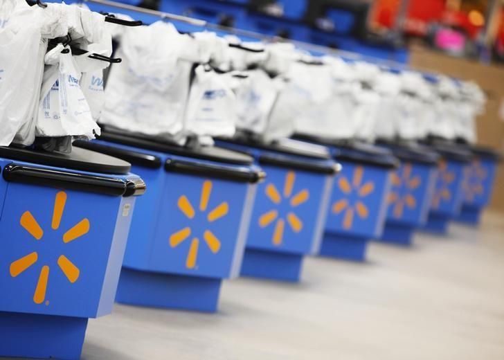 The Wal-Mart logo is pictured on cash registers at a new store in Chicago