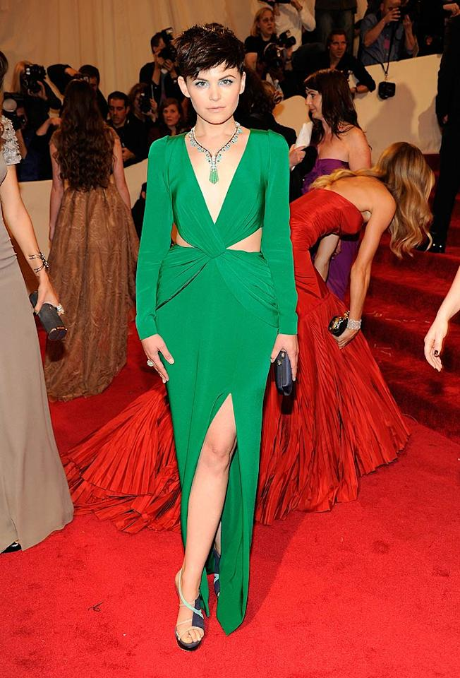 "It ain't easy being green. Unless you're Ginnifer Goodwin, who had no problem revealing plenty of skin in this custom-made Topshop Unique dress. As for the turquoise eyeshadow -- we wish she'd skipped it. Kevin Mazur/<a href=""http://www.wireimage.com"" target=""new"">WireImage.com</a> - May 2, 2011"