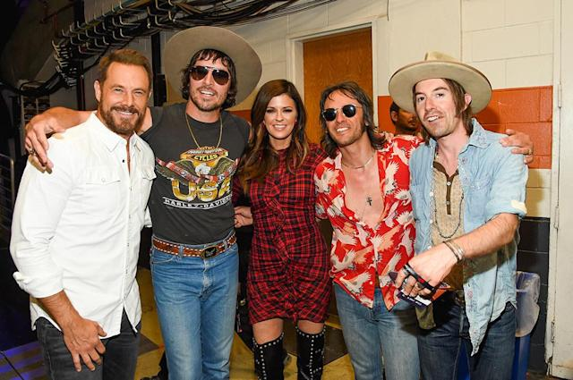 <p>Jimi Westbrook (Little Big Town) and Midland attends the 2017 iHeartCountry Festival, A Music Experience by AT&T at The Frank Erwin Center on May 6, 2017 in Austin, Texas. (Photo: Rick Kern) </p>