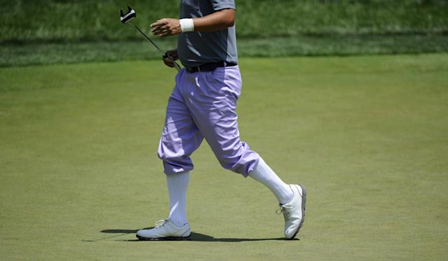 Fredrik Jacobson, of Sweden, walks on the second green during the third round of the Quicken Loans National golf tournament, Saturday, June 28, 2014, in Bethesda, Md. (AP Photo/Nick Wass)