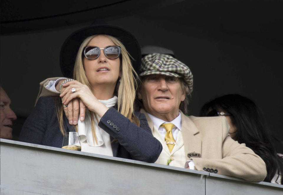 Photo by: zz/KGC-09/STAR MAX/IPx 2019 3/14/19 Rod Stewart and Penny Lancaster attend the Cheltenham Festival at Cheltenham Racecourse. (Cheltenham, England, UK)