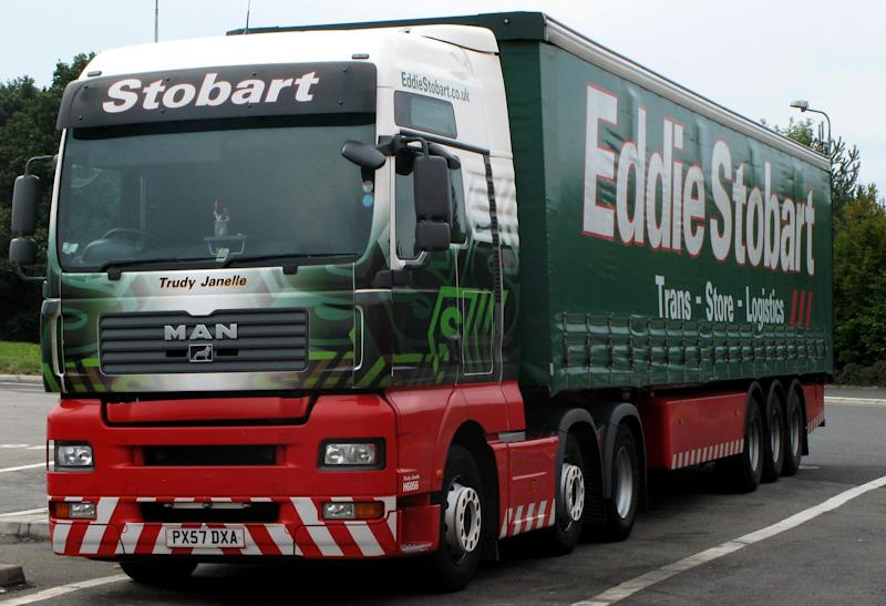 Generic stock photo of an Eddie Stobart lorry at a service station.