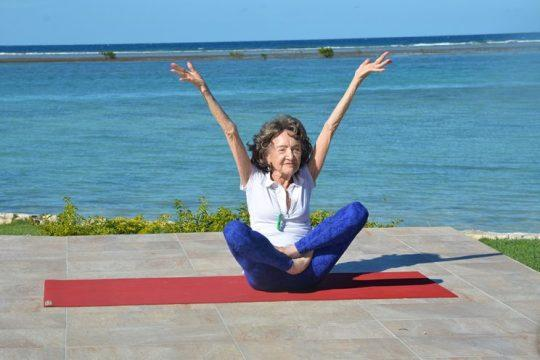 The World's Oldest Yoga Teacher's young spirit matches her movements. (Photo: Teresa Kennedy)