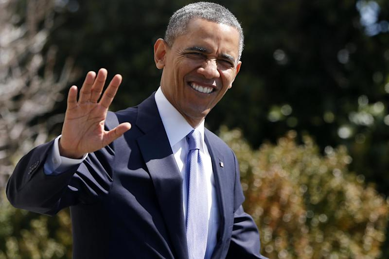 President Barack Obama waves as he walks to board the Marine One helicopter on the South Lawn at the White House in Washington, Wednesday, April 3, 2013, as he travels to Denver and San Francisco. (AP Photo/Charles Dharapak)