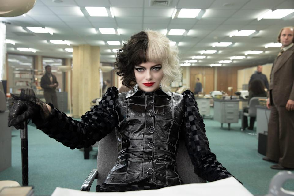 "Emma Stone plays a classic Disney villainess during her younger 1970s punk-rock fashionista days in ""Cruella."""