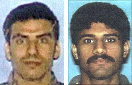 An aide to Crown Prince Abdullah denied on November 24, 2002 that the Saudi government had sent money to two of the Sept. 11 hijackers, Khalid al-Mihdhar (L) and Nawaf al-Hazmi. (FBI/Reuters)