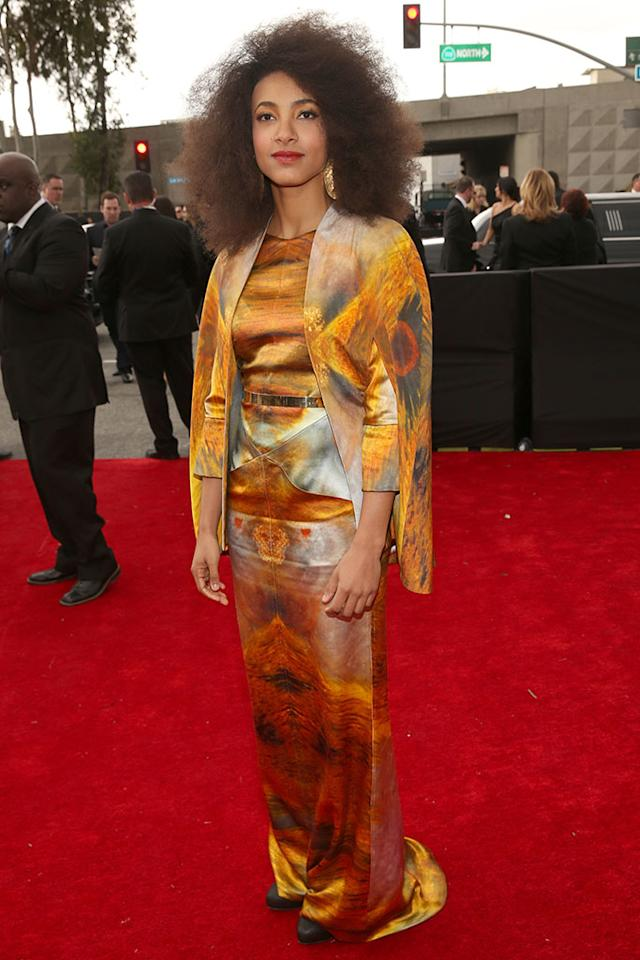 Esperanza Spalding arrives at the 55th Annual Grammy Awards at the Staples Center in Los Angeles, CA on February 10, 2013.