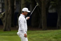 Paul Casey of England, celebrates after a birdie on the 12th hole during the final round of the PGA Championship golf tournament at TPC Harding Park Sunday, Aug. 9, 2020, in San Francisco. (AP Photo/Jeff Chiu)