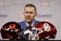 Oklahoma head football coach Lincoln Riley speaks from the stage during NCAA college football Big 12 media days Wednesday, July 14, 2021, in Arlington, Texas. (AP Photo/LM Otero)