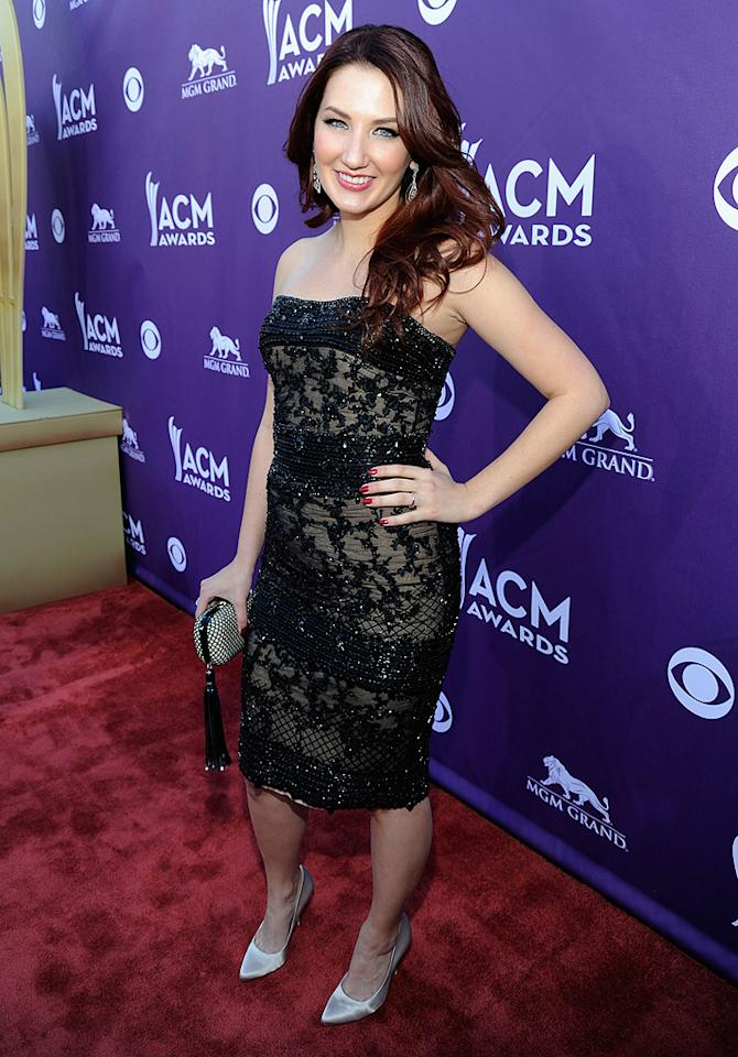 """<span style=""""font-size:11.0pt;"""">Up-and-comer Katie Armiger, 20, was lovely in her black lace dress, although we're not so sure about those shoes …</span>"""