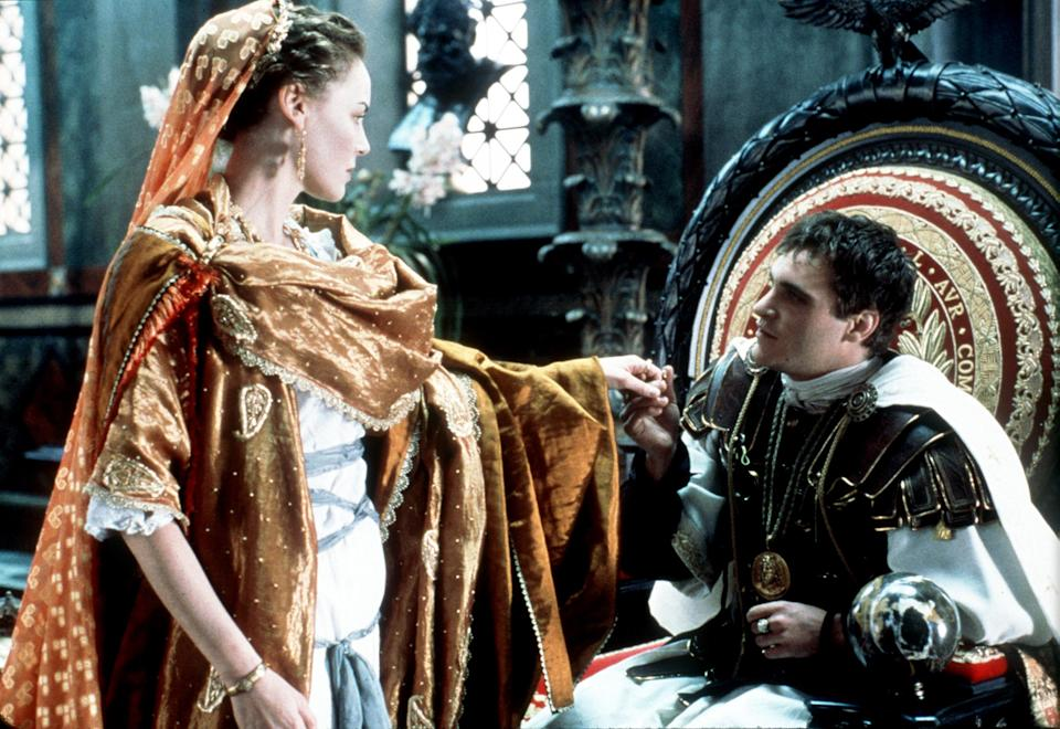 Connie Nielsen and Joaquin Phoenix in Ridley Scott historical epic 'Gladiator'. (Photo by Getty Images)