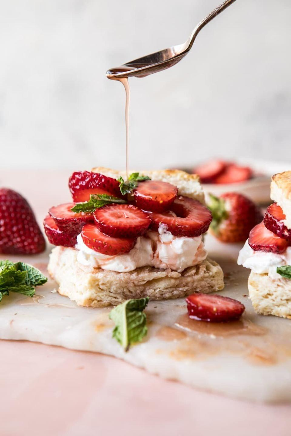 "<a href=""https://www.halfbakedharvest.com/strawberry-shortcakes/"" rel=""nofollow noopener"" target=""_blank"" data-ylk=""slk:Strawberry Bourbon Shortcakes from Half Baked Harvest"" class=""link rapid-noclick-resp""><strong>Strawberry Bourbon Shortcakes from Half Baked Harvest</strong></a>"