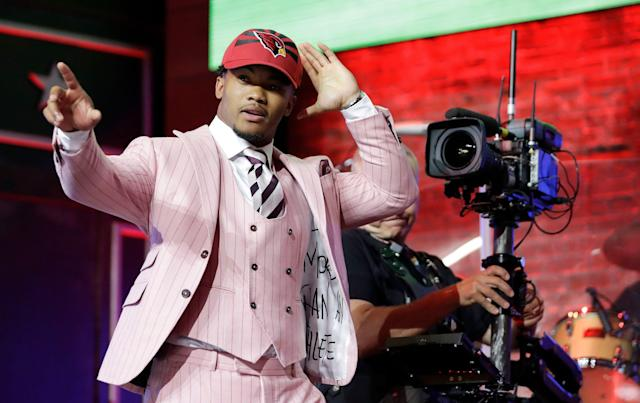 Oklahoma QB Kyler Murray waves after the Arizona Cardinals selected him first in Thursday's NFL draft. (AP)