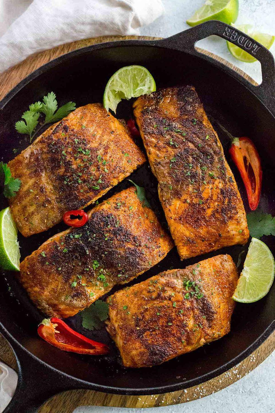 """<p>This salmon by<a href=""""https://www.jessicagavin.com/blackened-salmon/"""" rel=""""nofollow noopener"""" target=""""_blank"""" data-ylk=""""slk:Jessica Gavin"""" class=""""link rapid-noclick-resp""""> Jessica Gavin</a> is simple and flavorful and it has a wonderful dark, crispy crust that adds some texture on top. Blending savory, spicy, and sweet, it creates the perfect balance in each bite, and it's loaded with good fats from the fish to help you drop those pounds.</p>"""