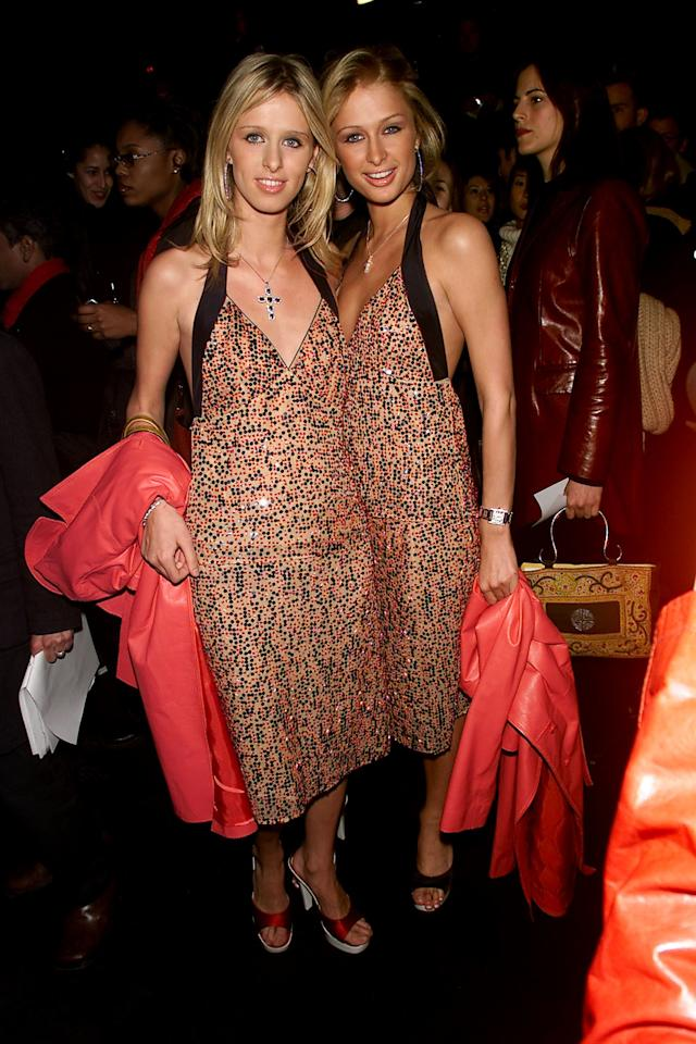 Nicky and Paris Hilton at the Sean John Fall 2001 show at Bryant Park in New York, February 2001.