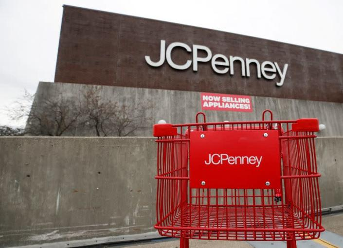 FILE PHOTO: An empty shopping cart sits in front of the J.C. Penney department store in North Riverside