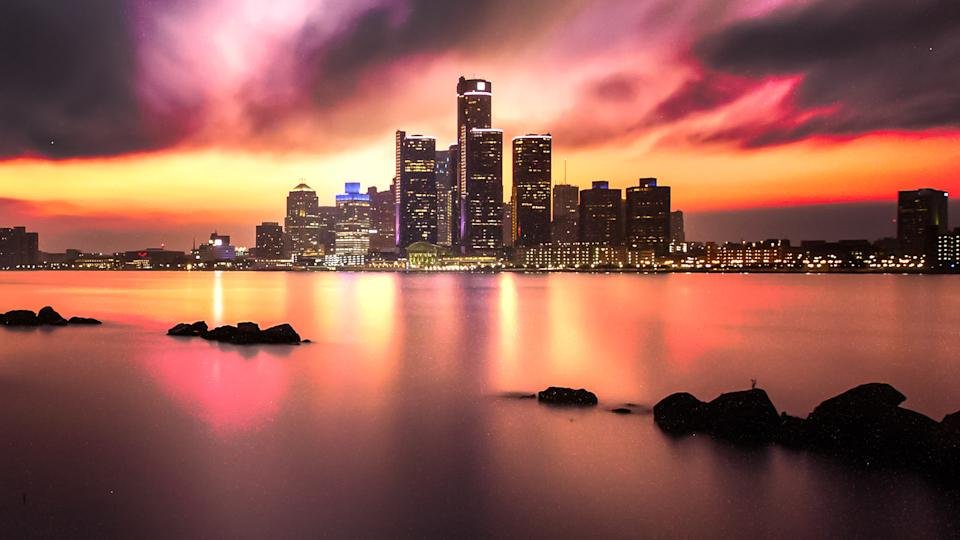 A long exposure of the Detroit skyline as seen from across the Detroit River in Windsor, Ontario, Canada.