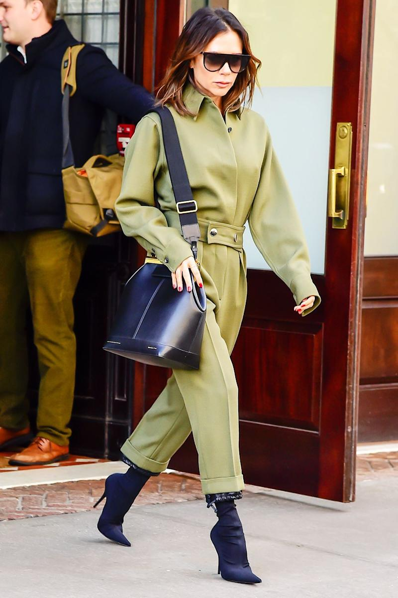 dc53aade6b728 Style Notes  A boilersuit is the easiest way to feel polished and stay warm  this winter. Dress-up with sock boots à la VB or dress it down with hiking  boots ...