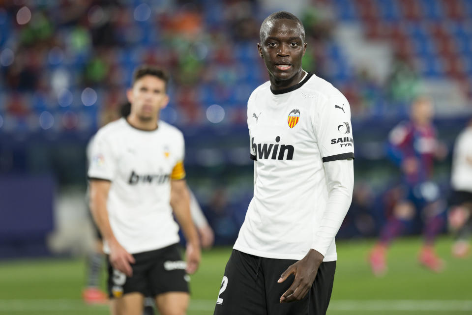 VALENCIA, SPAIN - 2021/03/12: Mouctar Diakhaby of Valencia CF seen during the Spanish La Liga football match between Levante UD and Valencia CF at Ciutat de Valencia stadium. Final score; Levante UD 1:0 Valencia CF. (Photo by Xisco Navarro Pardo/SOPA Images/LightRocket via Getty Images)