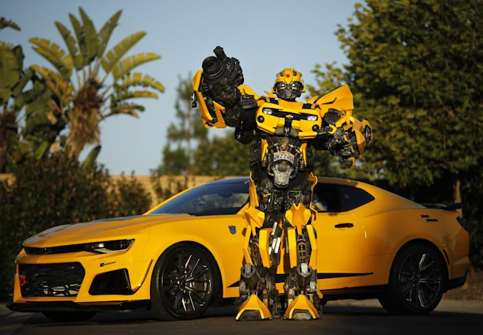 """Justin Wu wears his B-127 costume, also known as Bumblebee from the """"Transformer"""" series"""