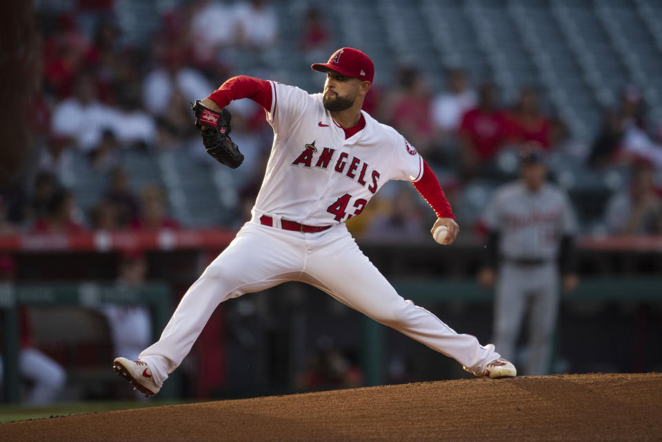 Los Angeles Angels starting pitcher Patrick Sandoval winds up during the first inning of the team's baseball game against the Detroit Tigers in Anaheim, Calif., Saturday, June 19, 2021. (AP Photo/Kyusung Gong)