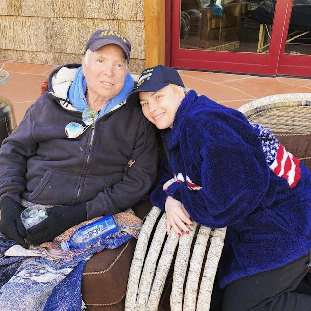 """<p>This March 18, 2018 photo provided by Meghan McCain shows Meghan McCain and her father, U.S. Sen. John McCain, in Sedona, Ariz. Meghan McCain posted the photo on social media, saying there's """"no place I would rather be."""" (Photo: Meghan McCain via AP) </p>"""