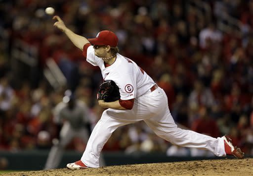 St. Louis Cardinals starting pitcher Shelby Miller throws during the sixth inning of a baseball game against the Colorado Rockies, Friday, May 10, 2013, in St. Louis. (AP Photo/Jeff Roberson)