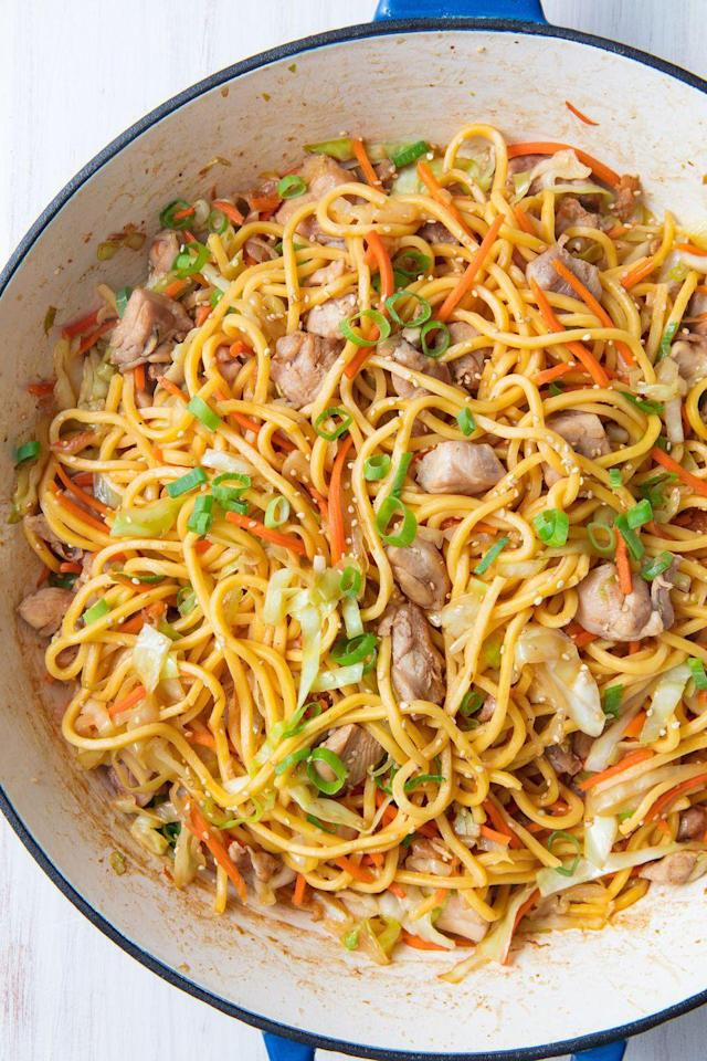 """<p>The perfect reason to keep a jar of oyster sauce in your fridge.</p><p>Get the recipe from <a href=""""https://www.delish.com/cooking/recipe-ideas/a20266905/chicken-chow-mein-recipe/"""" rel=""""nofollow noopener"""" target=""""_blank"""" data-ylk=""""slk:Delish."""" class=""""link rapid-noclick-resp"""">Delish.</a></p><p><strong><em><a href=""""https://www.amazon.com/Creuset-Signature-Handle-Skillet-4-Inch/dp/B00B4UOTBQ/"""" rel=""""nofollow noopener"""" target=""""_blank"""" data-ylk=""""slk:BUY NOW"""" class=""""link rapid-noclick-resp"""">BUY NOW</a> Le Creuset Signature Iron Handle Skillet, $200, amazon.com</em></strong><br></p>"""
