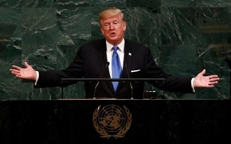 US President Donald J. Trump speaks during the opening session of the General Debate of the 72nd United Nations General Assembly at the UN headquarters in New York, New York, USA, 19 September 2017 - EPA
